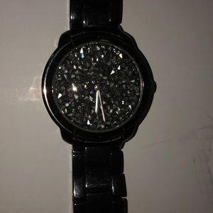 Black watch with diamonds